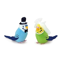 Budgerigar Wedding Plush Bird Mascot Clip-on Set