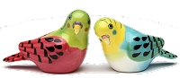 Pink and Blue Parakeet Salt & Pepper Shakers