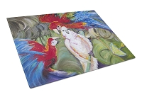 Menage-a-trois Parrots Glass Cutting Board Large