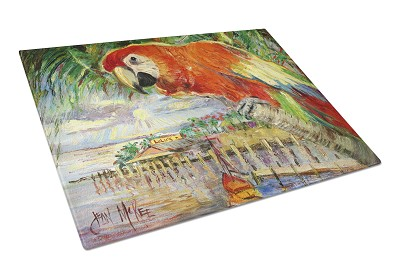 Red Parrot at Lulu's Glass Cutting Board Large