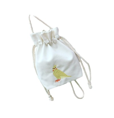 Little Parrot Drawstring Embroidered Bag