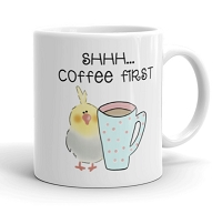 Cockatiel Coffee First 11 oz Mugs and Water Bottles