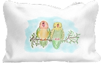 Lovebird Parakeet Budgie Canvas Zippered Pouch Large