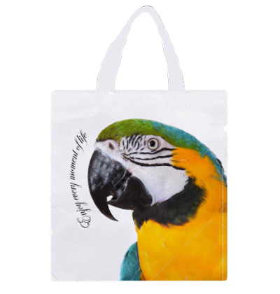 White Blue & Gold Macaw Shopping Bag